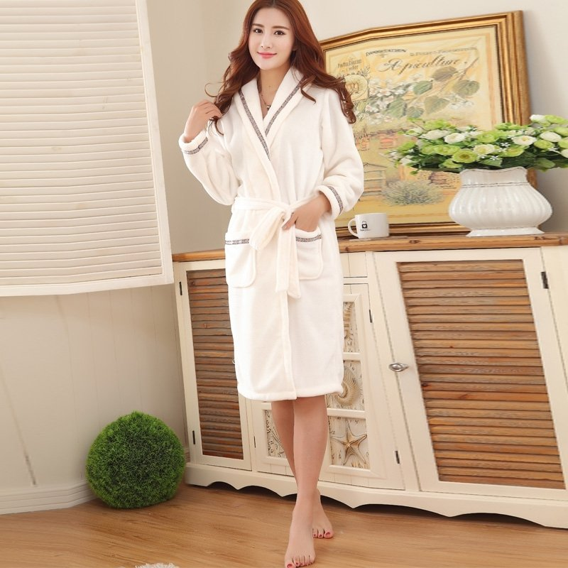 Plain Beige Flannel Wide-Lapel Long Sleeve Waist Tie Bathrobe with Edge Trim Night Robe Free Size Pajamas for Women