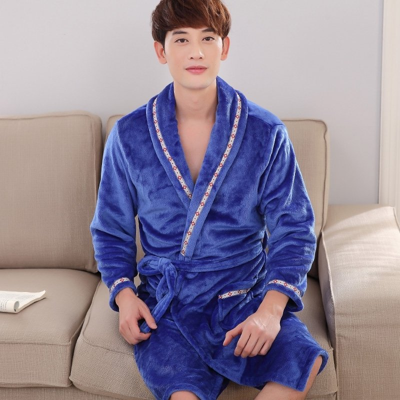 Solid Diamond Blue Flannel Wide-Lapel Bathrobe with Edge Trim Night Robe Free Size Pajamas for Men
