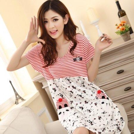 White Red 100% Cotton Knit Striped Cat Kitten Print Night Dress Cute Casual Summer Pajamas M L XL XXL
