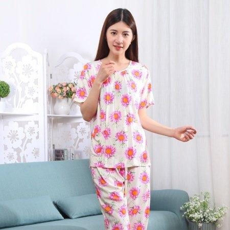 2 Pieces Short Sleeve and Cropped Trousers Plus Size Spring Pajamas for Women XXL XXXL XXXXL