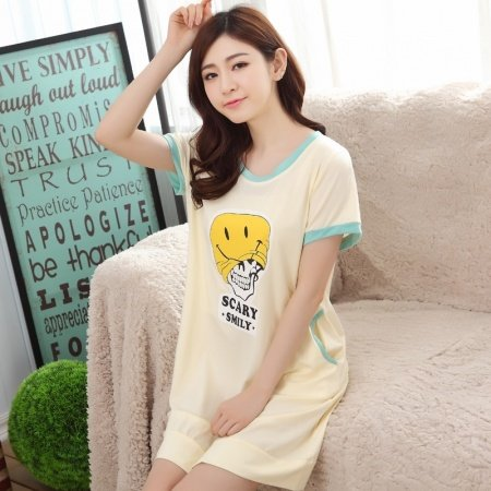 Light Yellow Scary Smiley Emoji Print Viscose Short Sleeve Long T-Shirt Night Dress Vogue Pajamas M L XL XXL
