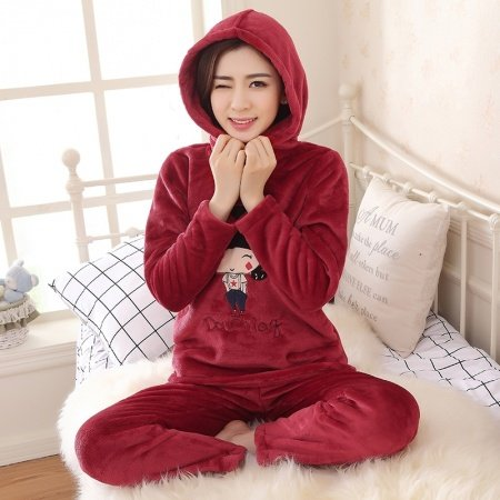 Wine Red Girl Flannel 2pc Hooded Shirt and Trousers Cute Pajamas for Girls M L XL XXL