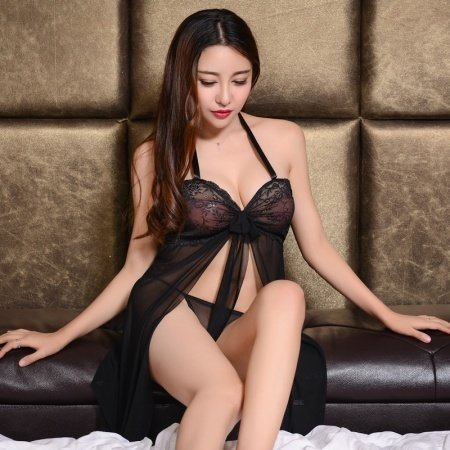Black Backless High Front Split Dress Sexy Seductive Free Size Pajamas with G-string