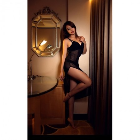 Black Double Split Long Dress Valentine Nightgowns Slimming Sexy Transparent Pajamas M L