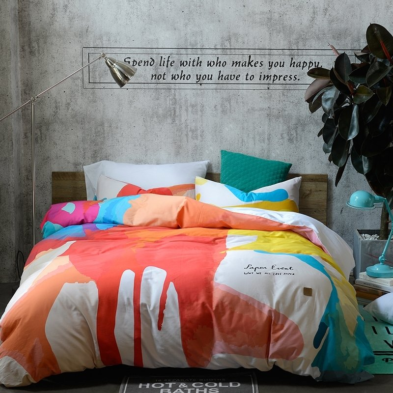 Flame Orange Aqua Yellow and White Colorful Painting Splatter Hipster Style Luxury 100% Egyptian Cotton Full, Queen Size Bedding Sets