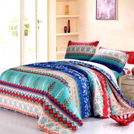 Peacock Blue Green and Red Pink Folklore Tribal Style Christmas Holiday Themed Full, Queen Size Bedding Sets