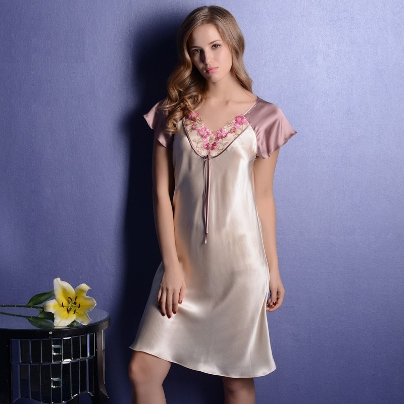 Pale Yellow 1 Piece 19mm 100% Nature Silk Nightgown Sweet Elegant Pajamas for Feminine Girly M L XL XXL