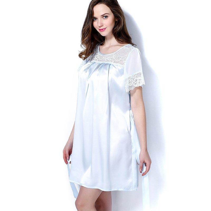 100% Mulberry Silk Nightgown Nightdress Stylish Pajamas M L XL