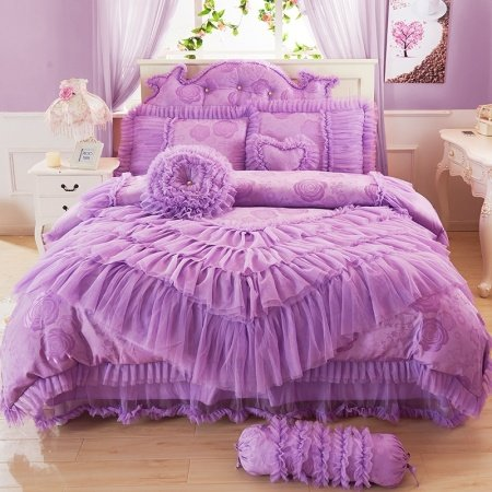 Elegant Girls Violet Victorian Rose and Ruffle Design Lace Trim Princess Style Embroidered Design Full, Queen Size Bedding Sets