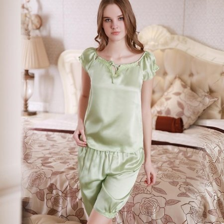 Pale Green 100% Pure Silk Crewneck Lace Trim Bowknot Short Sleeve Shirt and Shorts Contracted Pajamas for Girls M L XL