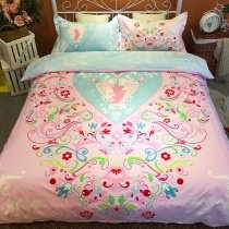 Pink Red Green and Light Blue Bright Colorful Folk Pattern Heart Print Elegant Girls 100% Cotton Twin, Full Size Bedding Sets