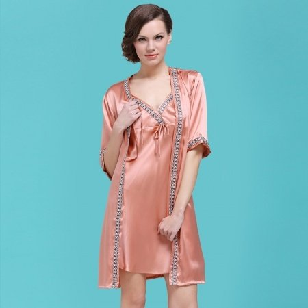 Pale Copper 100% Pure Silk Cami Dress and Robe 2pc Luxury Noble Pajamas for Ladies M L XL