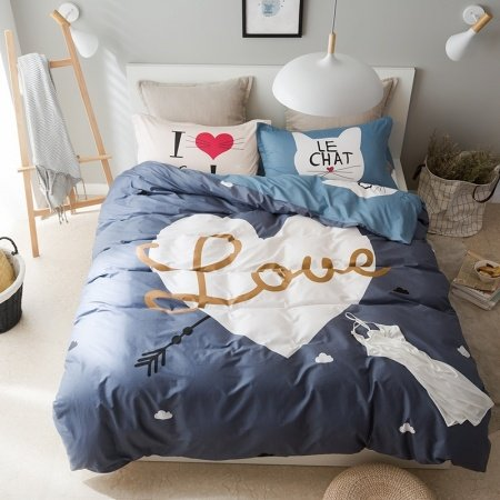 Charcoal Gray and White Heart and Monogrammed Print Romantic Love Symbol Traditional 100% Cotton Twin, Full Size Bedding Sets
