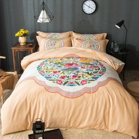 Buff Orange Green Red and White Folk Flower Pattern Tribal Print Oriental Style Reversible 100% Cotton Full, Queen Size Bedding Sets