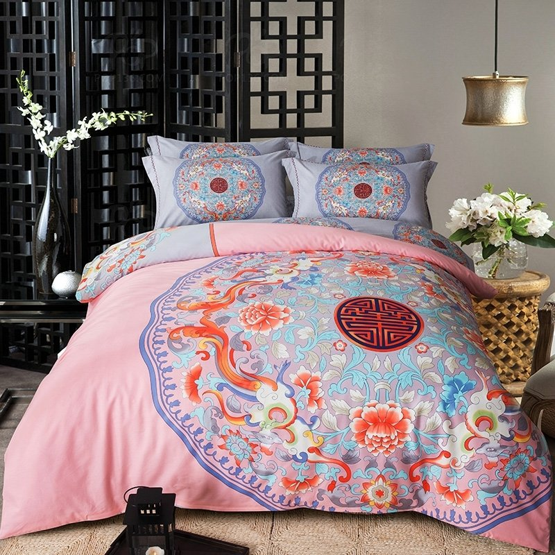 Salmon Pink Dusty Blue and Orange-red Rosette Pattern Tribal Print Southwest Style 100% Cotton Full, Queen Size Bedding Sets