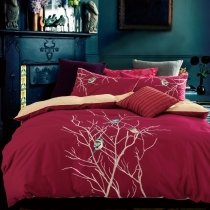 Burgundy Red and Beige Tree Branches and Bird Pattern Unique Embroidered Design Reversible 100% Cotton Full, Queen Size Bedding Sets