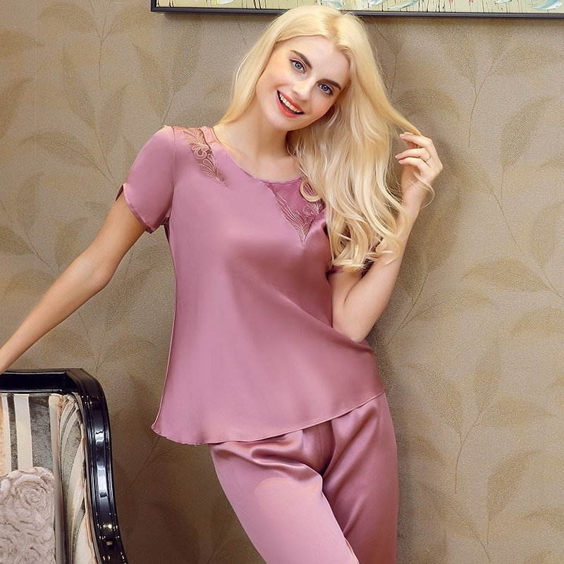 Puce 100% Nature Silk 2 Pieces Lace Short Shirt and Pants Luxury Boutique Pajamas for Feminine Girly M L XL XXL
