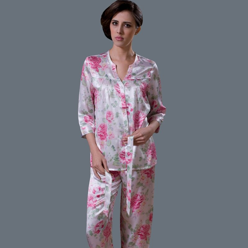 Big Red Flower Print Waist Tie Single-Breasted 100% Nature Silk Luxury Pajamas for Feminine Girly M L XL XXL
