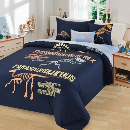 Deep Blue Coral and Yellow Dinosaur Pattern and Monogrammed Cretaceous Animal Hipster Style 100% Cotton Twin, Full Size Bedding Sets