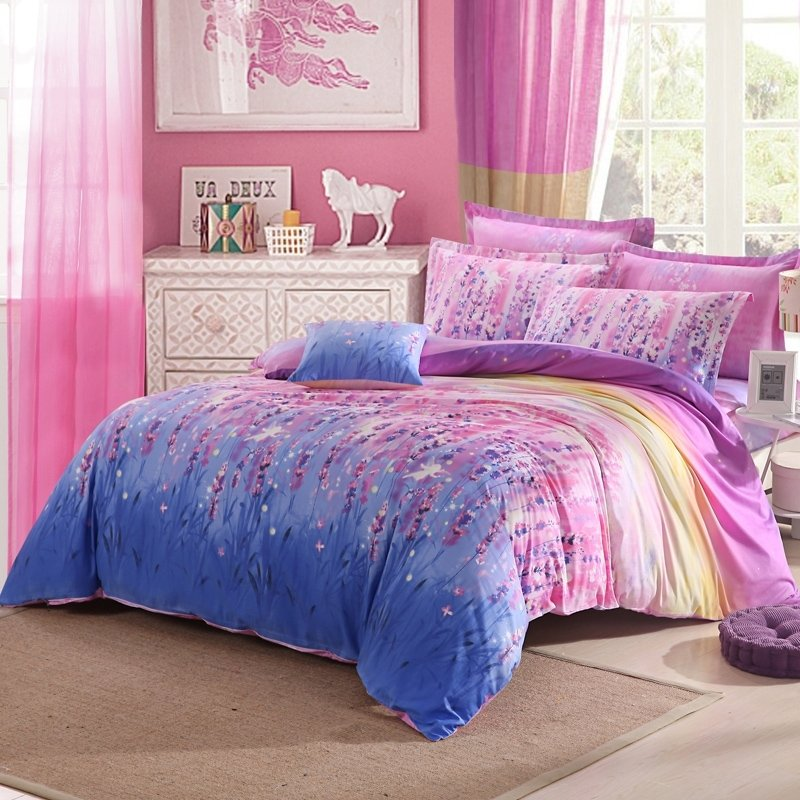 Elegant Girls Hot Pink Purple and Blue Lavender Flower Garden Cute Style Feminine Feel 100% Cotton Queen Size Bedding Sets