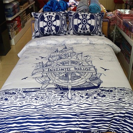Boys Navy Blue and White Nautical Themed Sailboat Print Reversible 100% Organic Cotton Twin, Full, Queen Size Bedding Sets