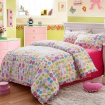 Rose Red Lime Turquoise and White Bright Colorful Polka Dot Design Funky Style Elegant Girls Soft Cotton Full, Queen Size Bedding Sets