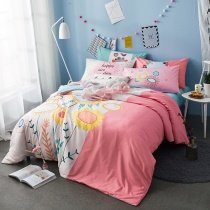 Pastel Pink White and Yellow Flower Print His and Hers Style Cute Girly High Fashion 100% Cotton Twin, Full Size Bedding Sets