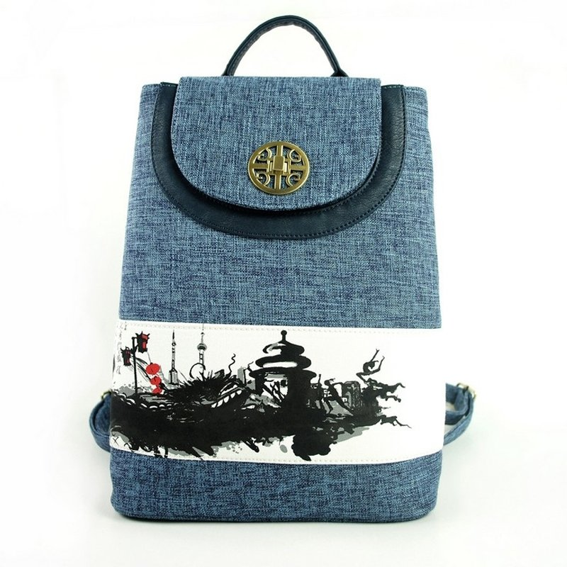 Durable Slate Blue Jute with Leather School Campus Book Bag Vintage City Scene Sequin Sewing Pattern Flap Travel Sling Backpack