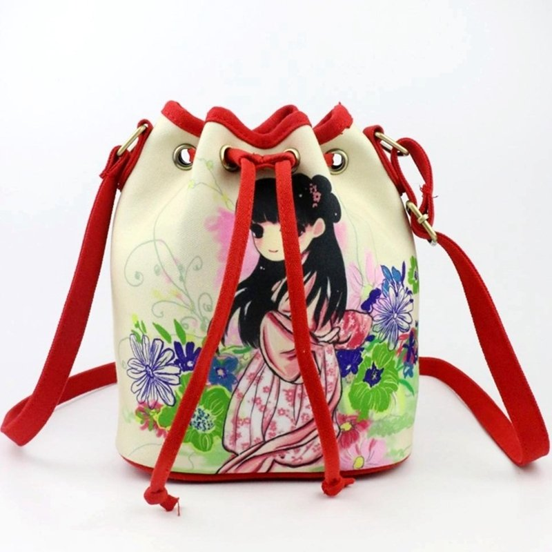 Durable Colorful Canvas Cute Girl and Beautiful Flower Print Sewing Pattern Small Casual Bucket Drawstring Crossbody Shoulder Bag