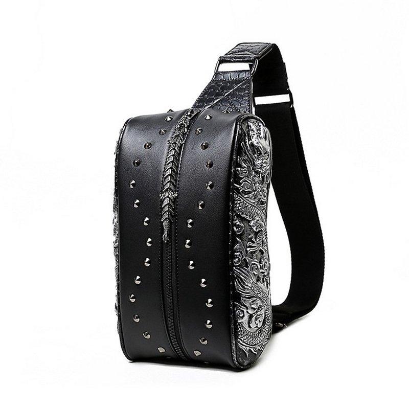 Personalized Black Leather Engraved Dragon Men Crossbody Shoulder Chest Bag Vintage Rivet Studded Rock and Roll Travel Sling Backpack