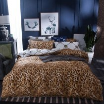 Brown and White Leopard Print Shabby Chic Trendy Reversible 100% Cotton Twin, Full Size Bedding Sets