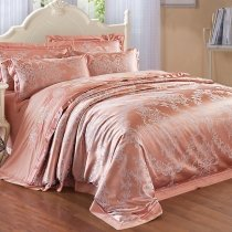 Rose Gold and Silver Glitter Damask Pattern Ethnic Themed Western Style Upscale Jacquard Satin Full, Queen Size Bedding Sets