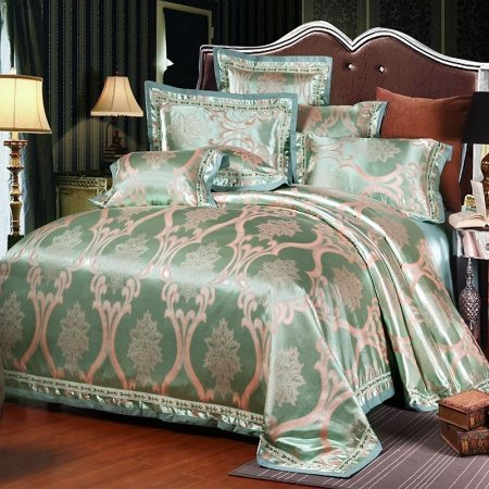 Luxury Bright Teal and Rose Gold Medieval Pattern Sparkly Old World Boutique Jacquard Satin Fabric Full, Queen Size Bedding Sets