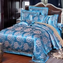 Sapphire Blue and Silver Flower Pattern Asian Inspired Glitter Noble Excellence Luxury Jacquard Satin Full, Queen Size Bedding Sets