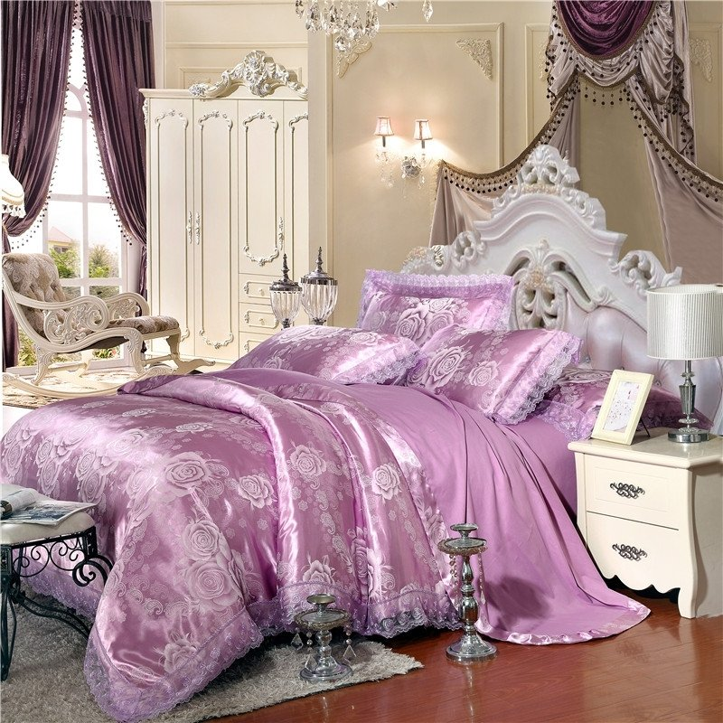 Lilac Purple and Silver Victorian Rose Pattern Lace Design Sparkle Satin Jacquard Fabric Full, Queen Size Bedding Sets
