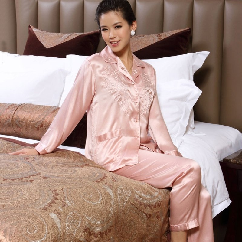 Baby Pink 16mm 100% Real Silk Embroidered Pocket Button Long Shirt & Pants Stylish Elegant Pajamas for Feminine Girly M L XL