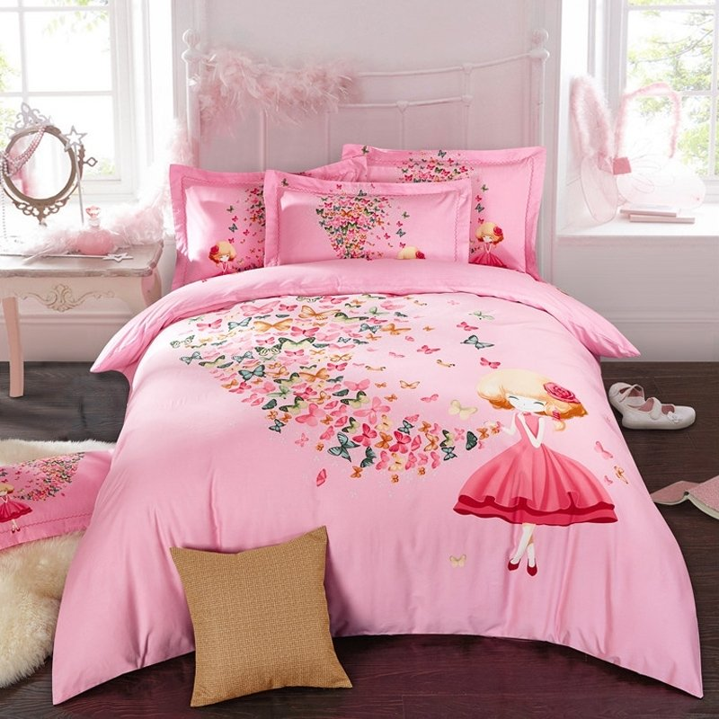 Pink Red and Teal Butterfly and Cute Girl Print Princess Style 100% Brushed Cotton Full, Queen Size Bedding Sets