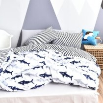 Trendy Deep Blue and White Shark Print Marine Life 100% Cotton Twin, Full Size Fish Bedding Sets for Kids, Boys