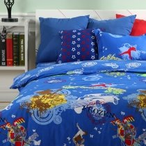 Sapphire Blue Brown Red and Yellow Vintage Car Guitar Butterfly Print Music Themed Punk Rock and Roll Style Twin Size Cotton Bedding Sets
