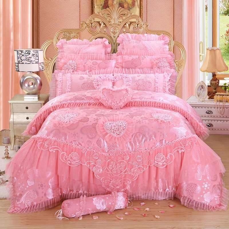 Noble Excellence Sequin Pink Victorian Heart Vintage Lace Ruffle Romantic  Girls Luxury Jacquard Cotton Full, Queen Size Bedding Sets