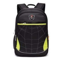 Sturdy Black Yellow and Silver Polyester Boys School Campus Book Bag Personalized Cobweb Plaid Print Zipper Casual Travel Backpack