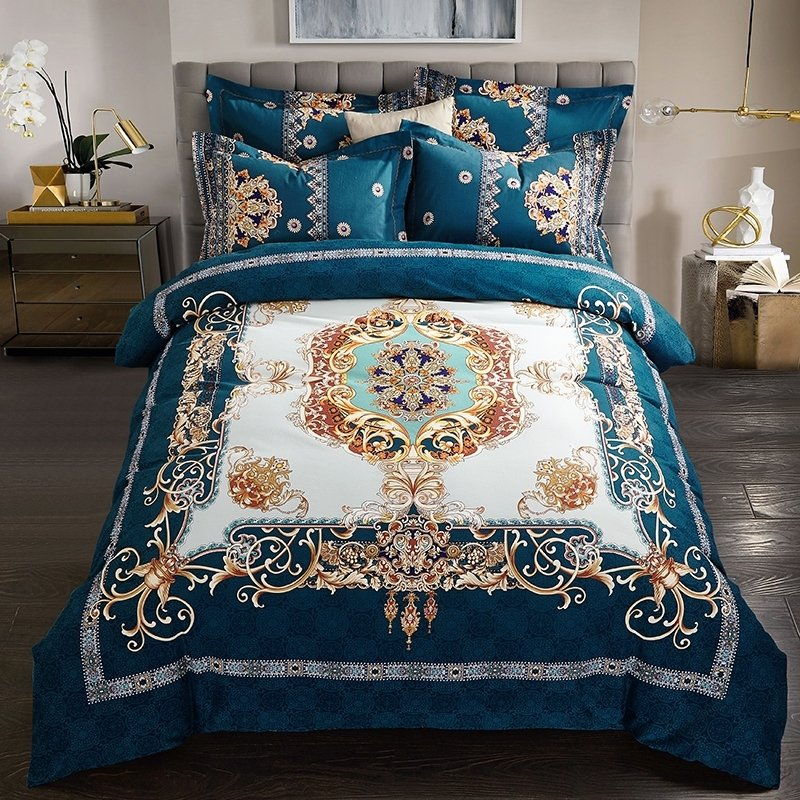 dark teal gold and beige royal style ethnic pattern noble