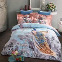 Grey Blue and Orange Beautiful Peacock Print Jungle Animal Themed Country Chic 100% Brushed Cotton Full, Queen Size Bedding Sets
