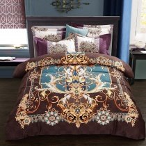 Brown Gold and Blue Moroccan Style Bohemian Inspired Southwestern Themed 100% Brushed Cotton Full, Queen Size Bedding Sets
