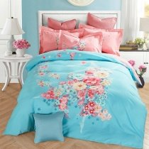 Trendy Soft Pink White and Sky Blue Fairy Print Fancy Style Elegant Girls 100% Brushed Cotton Full, Queen Size Bedding Sets