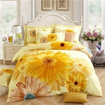 Trendy Orange Yellow and Brown Sunflower Print Country Chic Upscale 100% Brushed Cotton Full, Queen Size Bedding Sets