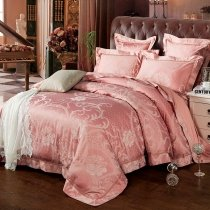Luxury Tea Rose Floral Pattern Polka Dot Design Modern Chic Noble Excellence Jacquard Satin Full, Queen Size Bedding Sets