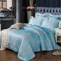 Sequin Pacific Blue and Silver Victorian Gothic Pattern Shabby Chic Western Style Jacquard Satin Fabric Full, Queen Size Bedding Sets