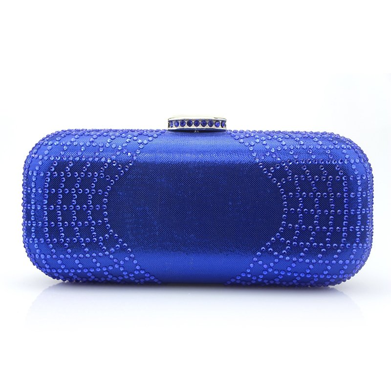 Upscale Royal Blue Patent Leather Lady Hard Shell Small Evening Party Clutch Bling Rhinestone Chain Bride Wedding Crossbody Shoulder Bag
