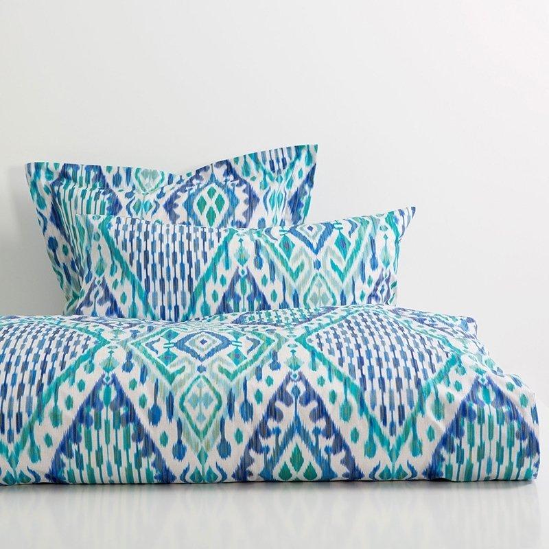 Blue Green and White Trippy Bohemian Style Southwestern Tribal Pattern Tie Dye Twin, Full Size Bedding Sets